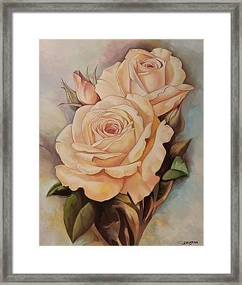 Damask Roses Framed Print
