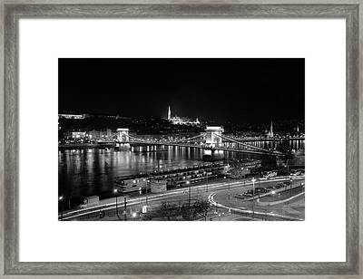 Framed Print featuring the photograph Danube River At Night by Mark Duehmig