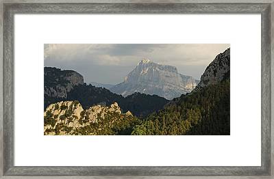 Framed Print featuring the photograph Dappled Light On Pena Montanesa by Stephen Taylor