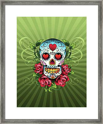 Day Of The Dead Skull Framed Print by New Vision Technologies Inc