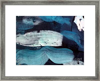 Framed Print featuring the painting Deep Blue #3 by Maria Langgle