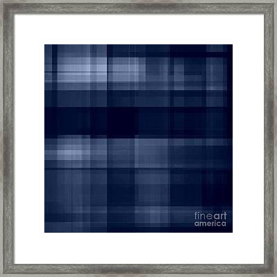 Framed Print featuring the digital art Deep Blue Plaid by Rachel Hannah