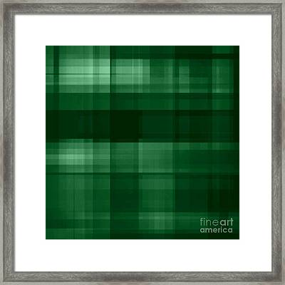 Framed Print featuring the digital art Deep Green Plaid by Rachel Hannah