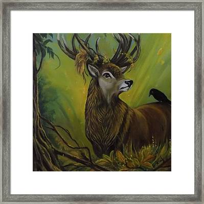 Deer Stag And The Crow Framed Print by Janet Silkoff