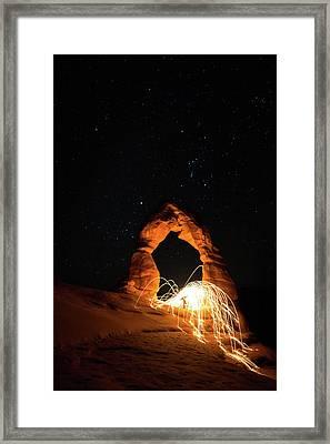 Delicate Arch Steel Wool Framed Print