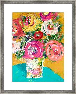 Framed Print featuring the mixed media Delightful Bouquet 4- Art By Linda Woods by Linda Woods