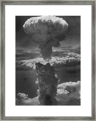 Dense Column Of Smoke Capped By Mushroom Framed Print by Time Life Pictures