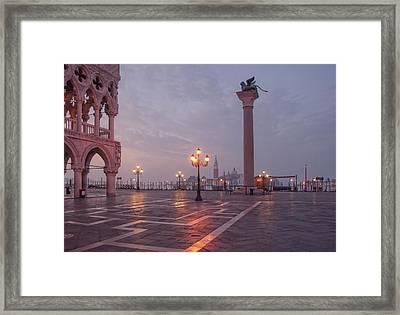 Deserted Piazza San Marco Before Sunrise Framed Print by Tu Xa Ha Noi