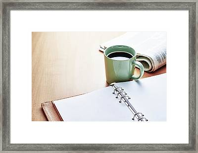 Desk Table Framed Print by Utamaru Kido