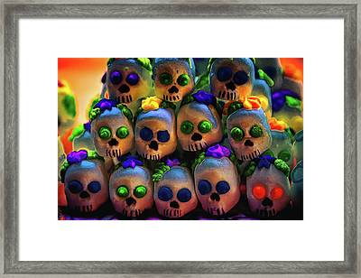 Framed Print featuring the photograph Dia De Los Muertos Candy Skulls 2 by Tatiana Travelways