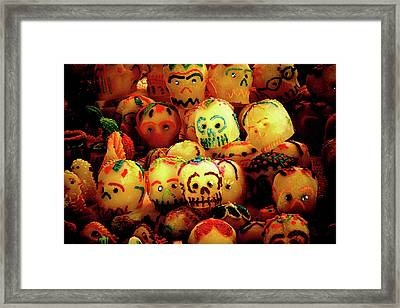 Framed Print featuring the photograph Dia De Los Muertos Candy Skulls by Tatiana Travelways