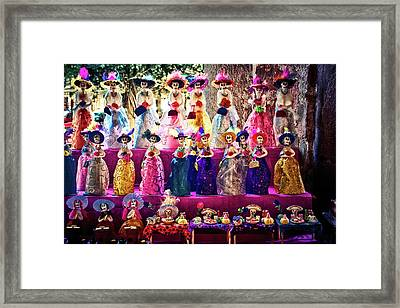 Framed Print featuring the photograph Dia De Los Muertos Spooky Candy Catrinas by Tatiana Travelways