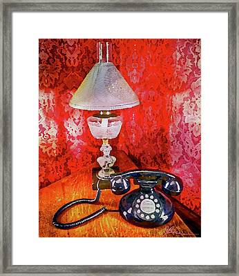 Framed Print featuring the painting Dial Up Telephone by Joan Reese