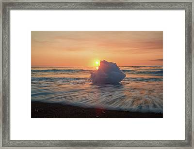 Diamond Beach Sunrise Iceland Framed Print