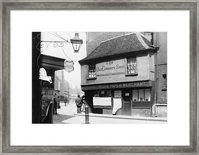 Dickens Shop Framed Print by F. J. Mortimer