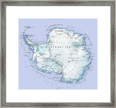 Digital Illustration Of Antarctica Framed Print by Dorling Kindersley