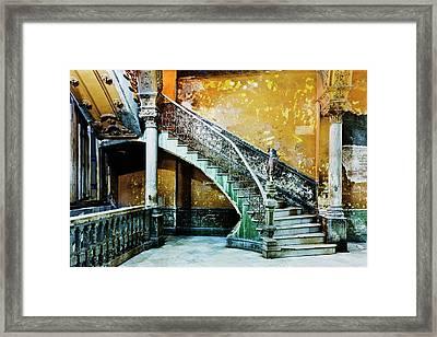 Dilapidated, Ornate Stairway Framed Print