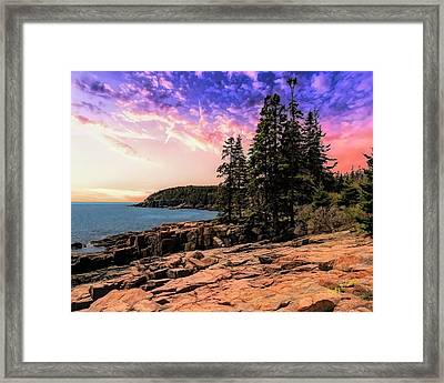 Distant View Of Otter Cliffs,acadia National Park,maine. Framed Print