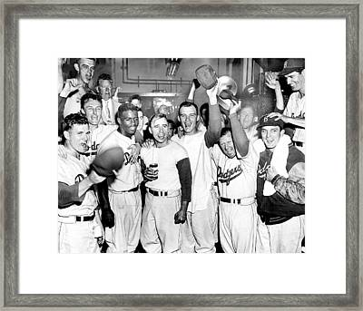 Dodgers Celebrate In The Clubhouse Framed Print