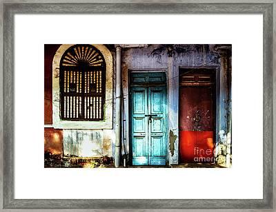 Doors Of India - Blue Door And Red Door Framed Print