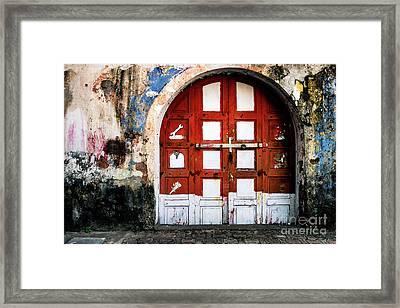 Doors Of India - Garage Door Framed Print