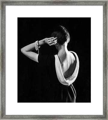 Dorian Leigh In A Dior Dress Framed Print