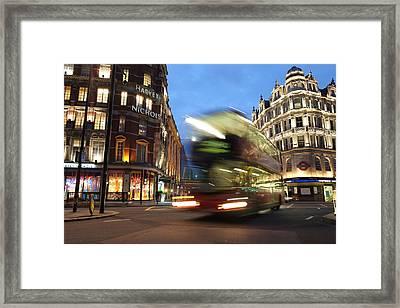 Double Decker Bus Blur Framed Print