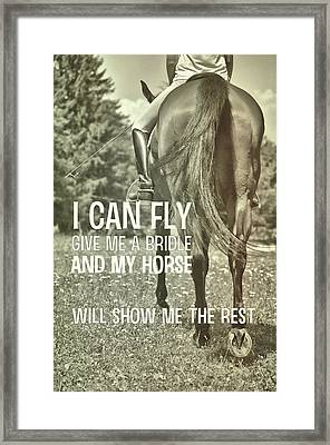 Dressage In The Daisies Quote Framed Print by JAMART Photography