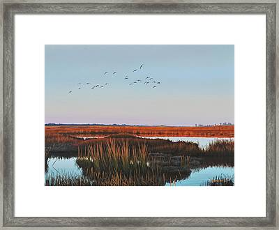 Framed Print featuring the painting Dropping In - Teal by Peter Mathios