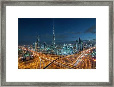 Dubai Downtown Area With Burj Khalifa Framed Print by Umar Shariff Photography
