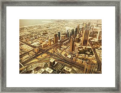 Dubai Skyline With Downtown Aerial View Framed Print by Franckreporter