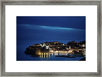 Dubrovnik Old Town At Night Framed Print