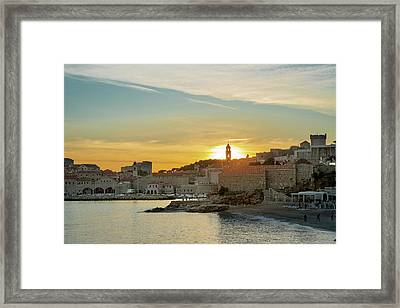 Dubrovnik Old Town At Sunset Framed Print