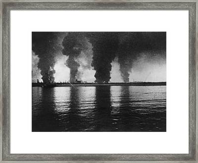 Dunkirk Fires Framed Print by Central Press