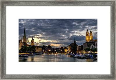 Dusk At Zurich Framed Print