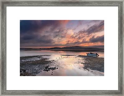 Dusky Pink Sunrise Bay Waterscape Framed Print