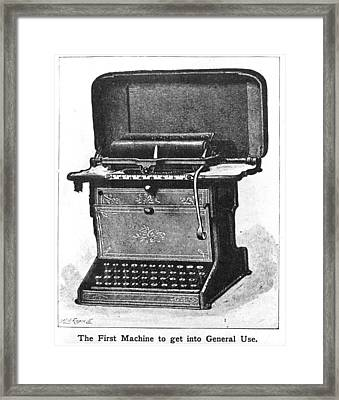 Early Typewriter Framed Print by Hulton Archive