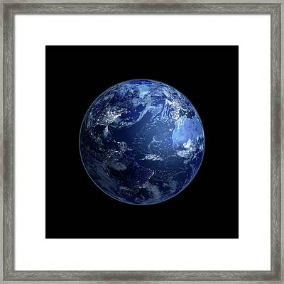 Earth At Night, Artwork Framed Print by Andrzej Wojcicki