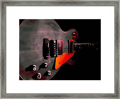 Framed Print featuring the digital art Ebony Relic Guitar Hover Series by Guitar Wacky
