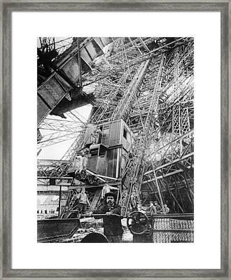Eiffel Elevator Framed Print by Three Lions