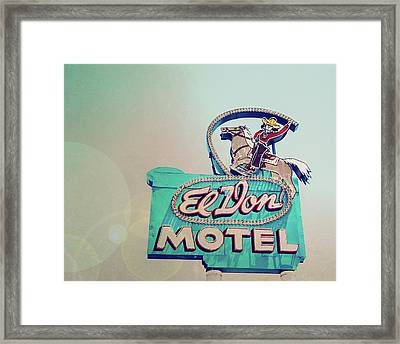 Framed Print featuring the photograph El Don Motel Sign - Vintage Route 66 Neon Sign by Melanie Alexandra Price
