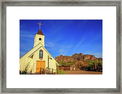 Elvis Chapel At Apacheland, Superstition Mountains Framed Print