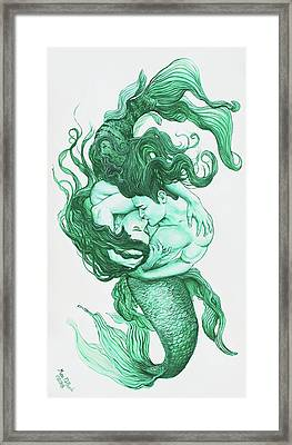 Embracing Mermen Framed Print