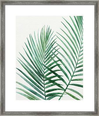 Framed Print featuring the painting Emerald Palm Fronds Watercolor by Kristian Gallagher