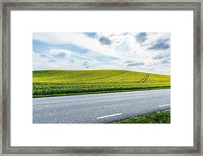 Empty Country Road Along Landscape Framed Print by Jimmy Nilsson / Eyeem