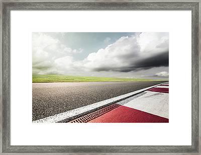 Empty Motor Racing Track Framed Print by Yubo