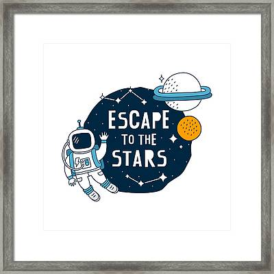 Escape To The Stars - Baby Room Nursery Art Poster Print Framed Print