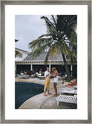 Esther Williams By The Pool Framed Print by Slim Aarons