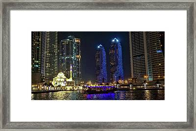 Evening Waterfront Scene, Dubai Marina, Dubai, United Arab Emirates Framed Print