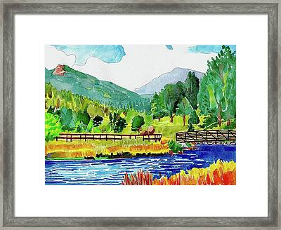 Framed Print featuring the painting Evergreen Lake Spring Watercolor by Dan Miller